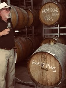 Rob Moody, Somerled winemaker, pictured in the barrel hall